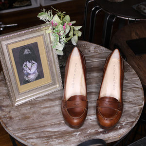 NEW Mark Fisher Leather Platform Loafer Heels